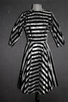 RARE VINTAGE 1950'S DESIGNER BLACK VELVET & BLACK TAFFETA STRIPED DRESS SIZE 6-8