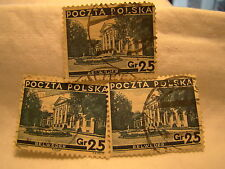 Poland Stamp 1935 Scott 298 A65 Blue 25 Gr Set of 3