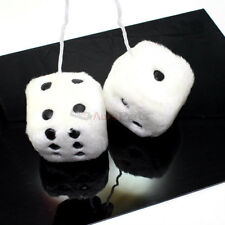 "2 Premium White-Black Fuzzy Plush Mirror Hanging 2.5"" Dice for Car-Truck"