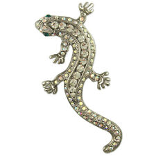CLEAR CRYSTAL RHODIUM PLATED LIZARD PIN BROOCH MADE WITH SWAROVSKI ELEMENTS