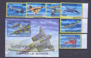 GUINEA STAMPS M/S BLOCK STAMPS +STAMPS ,AVIONS MILITAIRES, **MNH