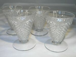 """Set of Four(4) Footed """" English Hobnail"""" Clear Depression Glass Juice Glasses"""