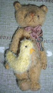 Mohair BEAR & BIRD by artist Christy Firmage of Christy's Bears ~ 7 In/Adorable!