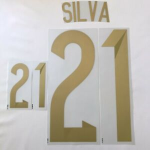 Silva # 21 Spain World Cup 2014 Name & Number Transfer Authentic Player Issue