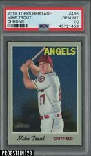 2019 Topps Heritage Chrome #485 Mike Trout Angels PSA 10 GEM MINT