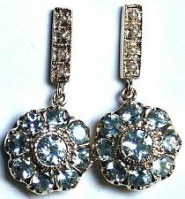 VINTAGE 9k YELLOW GOLD 1.2CT AQUAMARINE SEED PEARL DANGLE DAISY STUD EARRINGS