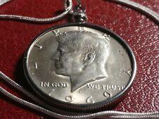 "1969 Silver Kennedy Half Dollar Pendant on a 28"" .925 Silver Snake Chain"