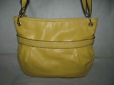 Relic by Fossil Yellow Faux Leather Crossbody Messenger Bag Sling Hobo Purse