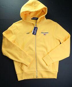 POLO RALPH LAUREN Men's Chrome Yellow Polo Sport Full Zip Fleece Hoodie NEW NWT