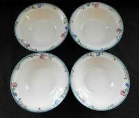 "Oneida Blue Lattice Pattern 4 Rim Cereal Bowls 7 1/4"" Unused Condition w2s5"