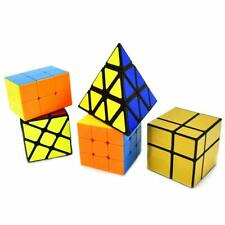 Set of 5 Speed Cube Rubix Cube 2x3 3x3 Pyraminx Fisher Mirror Puzzle Toy Gift