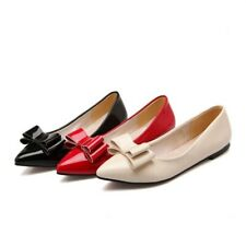 Womens Bowtie Pointed Toe Ballet Flat Loafers Mary Janes Casual Court Shoes New
