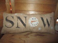 Primitive Stenciled Pillow - SNOW - snowman head - winter - Christmas
