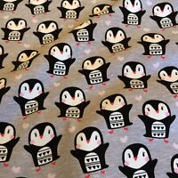 Jersey Stoff Pinguine Kinderstoff Stretch Baumwolle Öko-Tex 0,5m