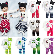 3pcs Newborn Baby Boy Girl Hat Romper Pants Bodysuit Cartoon Outfits Clothes Set