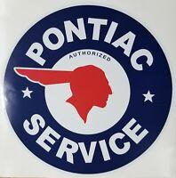 "Pontiac Service 12"" Round Decal *Gas & Oil / GAS PUMP STICKERS / PONTIAC DECAL"