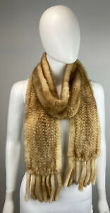 Whiskey Golden Mink Real Knit Fur Scarf Wrap Coat Collar Stole