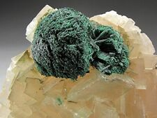 Malachite on Calcite Crystals, Tsumeb, Namibia