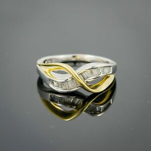 10K White Gold Women's Ring with Baguette Diamonds and Yellow gold ring