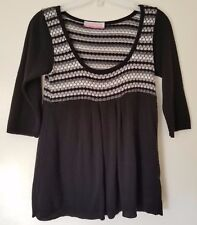 Absolutely Black & White 3/4th Sleeve Classic Neck Baby Doll Blouse Size Small