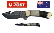 AUSSIE Handmade Genuine Damascus Steel Skinning Knife With Bone and Horn Handle