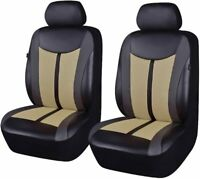 Beige & Black Universal Front Car Seat Covers PU Leather Auto Cushions Protector
