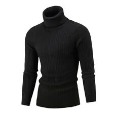 Men Slim Warm Knit Sweater High Neck Jumper Top Turtleneck Solid Winter Pullover