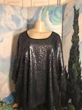 ROAMAN'S PLUS 24W NEW BLUE METALLIC SEQUIN SCOOP NECK ELBOW SLEEVE TUNIC TOP