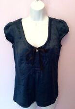 MONSOON TEAL BLUE SILK BOW TRIM SCOOP NECK TOP SIZE 8