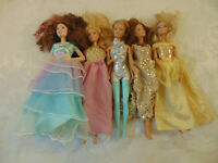 "Lot Of 5 Barbie Dolls 12"" All With Outfits"