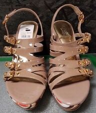 Multi-Taupe Patent and Fabric Strappy Wedge Heel by Carlos, Size 8M, NWOB