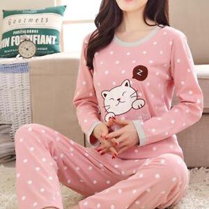 Ladies Womens Pyjamas Set Pjs Long Sleeve Nightwear Comfy Loungewear Lingerie dh