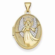 14k Yellow Gold Oval Angel Locket Charm - 18x21mm