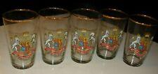 5 GLASS HIGHBALLS 8 OUNCE 1953 ENGLAND CORONATION QUEEN ELIZABETH II CORONATION