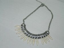 Estate Pewter Chain with Beads Clear Rhinestones & Cream Fringe Necklace – 18 in