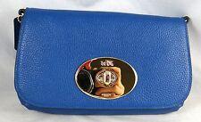 COACH LIV PEBBLE BLUE DENIM LEATHER CLUTCH CROSSBODY BAG 52896