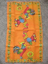 Vintage Linen Tea Towel Roosters & Flowers BRIGHT Orange Colors Retro Hippie Mod