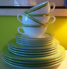 VINTAGE PYREX 16-PIECE SET OF DISHES LIME GREEN RIM WITH GOLD TRIM - VERY NICE!