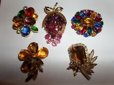 VINTAGE 5 BROOCHES PINS LOT FROM ESTATE AUCTION HOT BEAUTIFUL WAS $100
