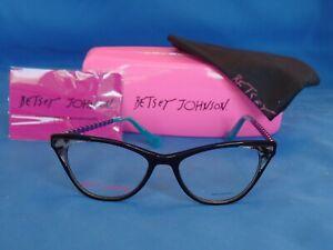 New Women's Betsey Johnson Eyeglass Frame Rule Breaker Black Plastic 52-17-140
