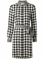 DIANE VON FURSTENBERG DVF $398  BLACK SILK GINGHAM PRITA SHIRT DRESS  8
