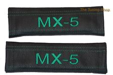 """2x Seat Belt Covers Pads Black Leather """"MX-5"""" Green Embroidery for Mazda"""