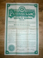 1917 Life insurance policy, Peninsular Casualty Co. Jacksonville Fla.