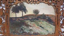 Antico Dipinto olio tavola Sicilia traforo paesaggio seghetto Catania Taormina