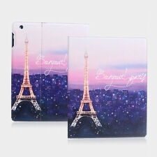 Romantic Paris Eiffel Tower Leather Case With Screen Cover For iPad 2/3/4