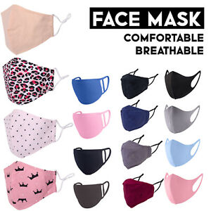 Face Masks Washable Reusable Adjustable Ladies/Mens/Kids Face Covering Mask