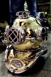 X-Mas Vintage Brass & Aluminium Us Navy Mark V Diving Divers Helmet Full Size
