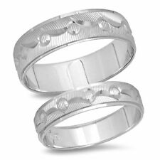 14K White Gold Matching Mens Womens Wedding Band Ring His & Hers Engagement Set