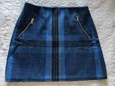 Gap Blue Tartan Wool Skirt With Zips To Fit Size8