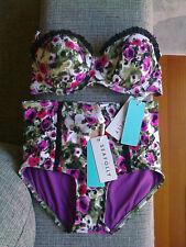 Seafolly Tea Rose Bikini Bustier Bra Top and High Waisted Siren Pant Size 8 BNWT